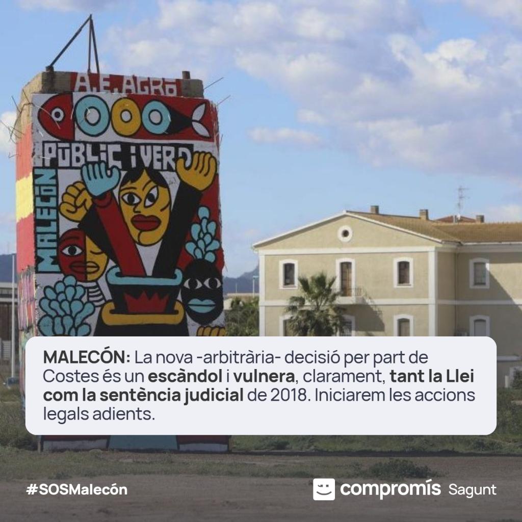 El Malecón nou deslinde Compromís per Sagunt. DIREM NO ALS TRIBUNALS.
